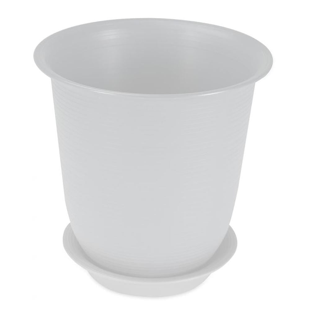 Felton Round Flower Plant Pot With Saucer White FBL2460