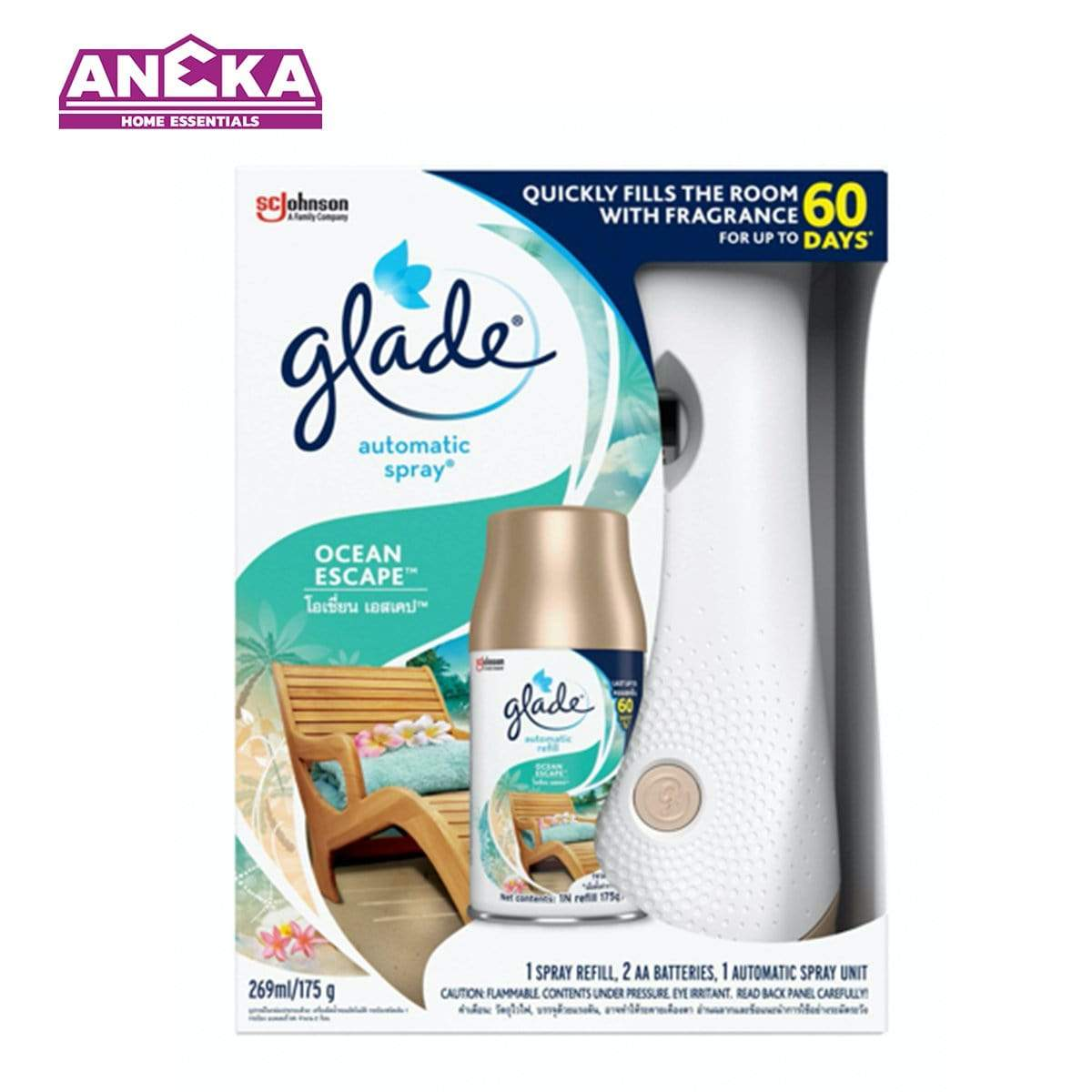 Glade Automatic Spray 3 in 1 Ocean Escape Air Freshener 175g