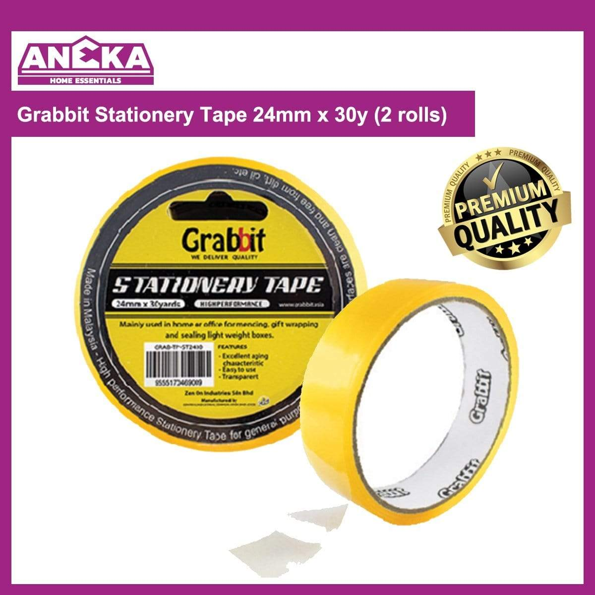Grabbit Stationery Tape 24mm x 30y (2 rolls)