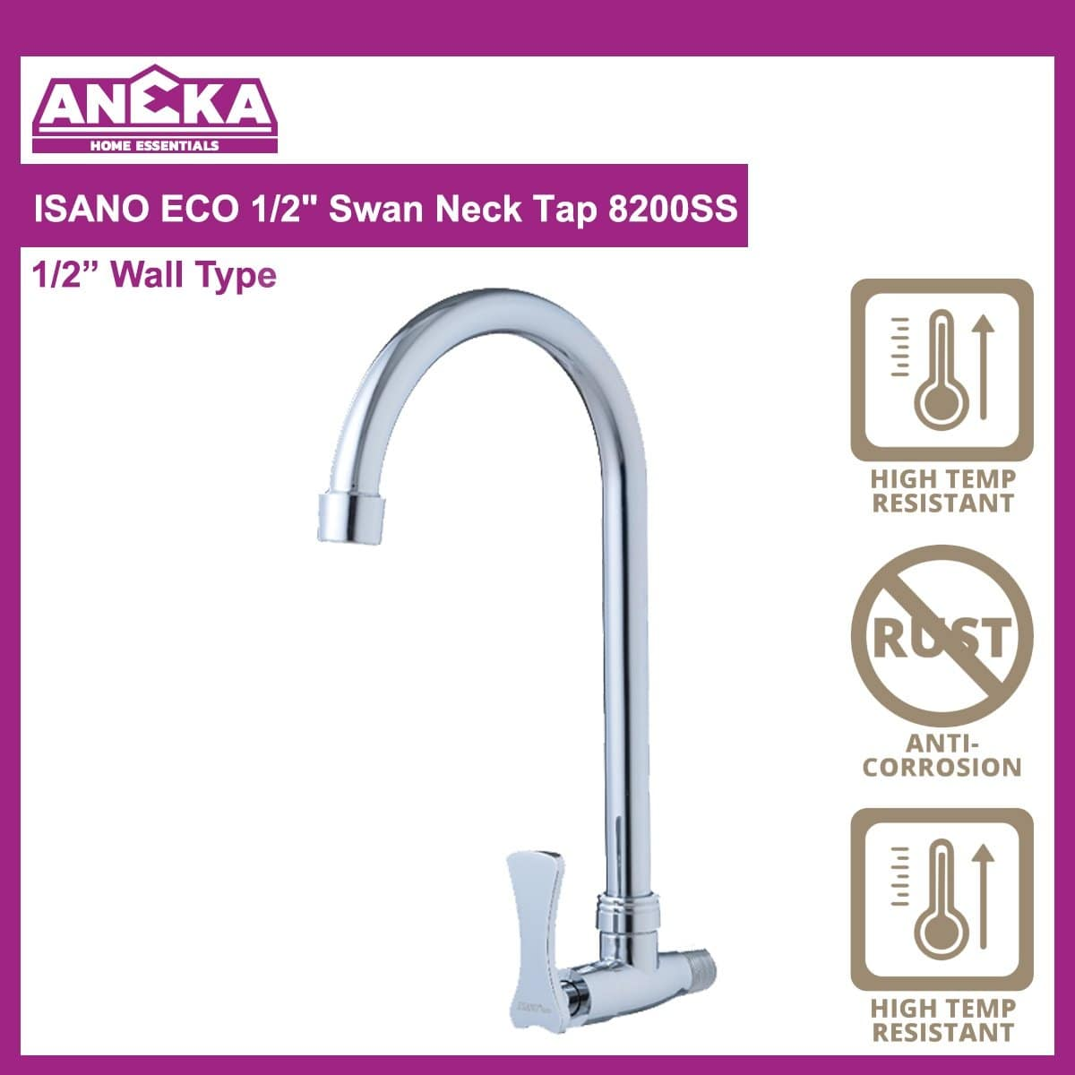 "ISANO ECO 1/2"" Swan Neck Tap 8200SS"