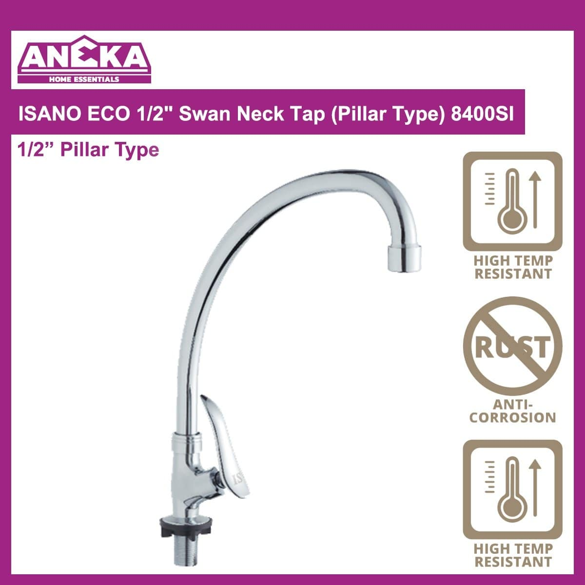 "ISANO ECO 1/2"" Swan Neck Tap (Pillar Type) 8400SI"
