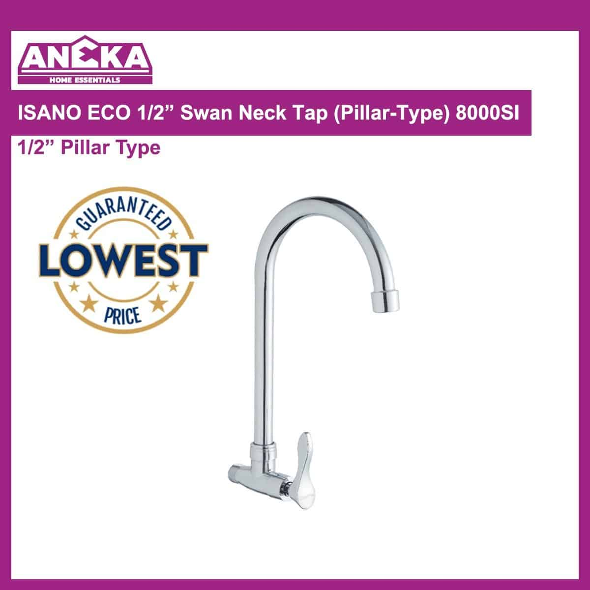 "ISANO ECO 1/2"" Swan Neck Tap (Wall-Type) 8000SS"