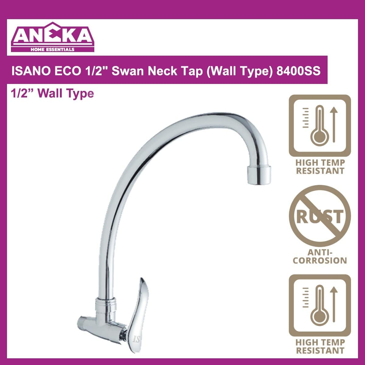 "ISANO ECO 1/2"" Swan Neck Tap (Wall Type) 8400SS"