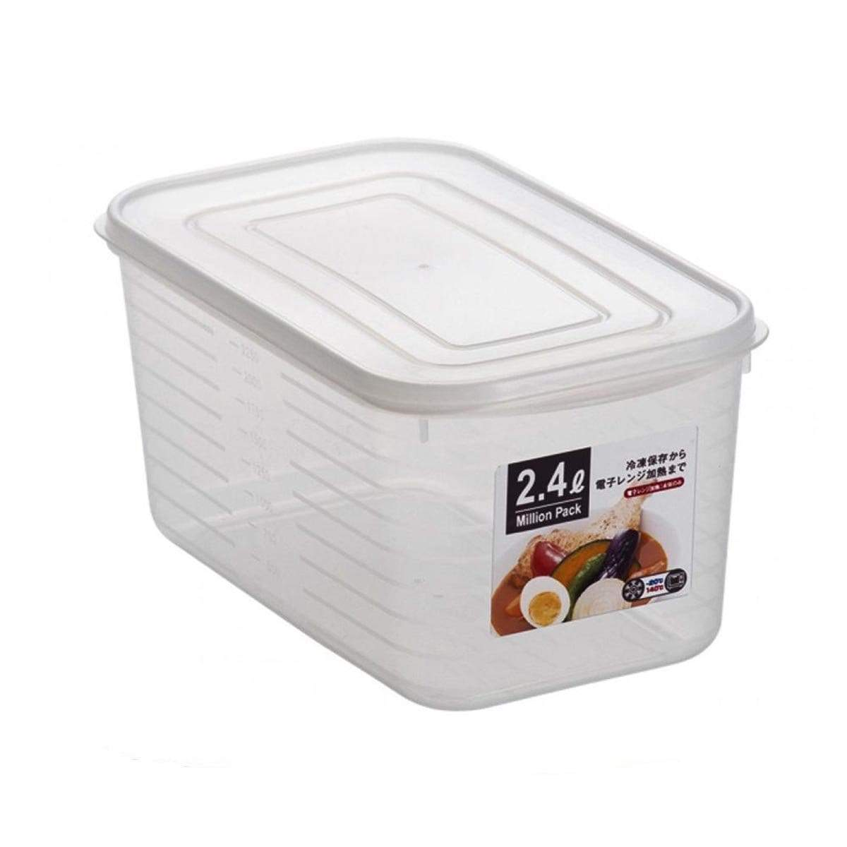 Japanese Large Plastic Square Food Container Box with Lid 2400 White