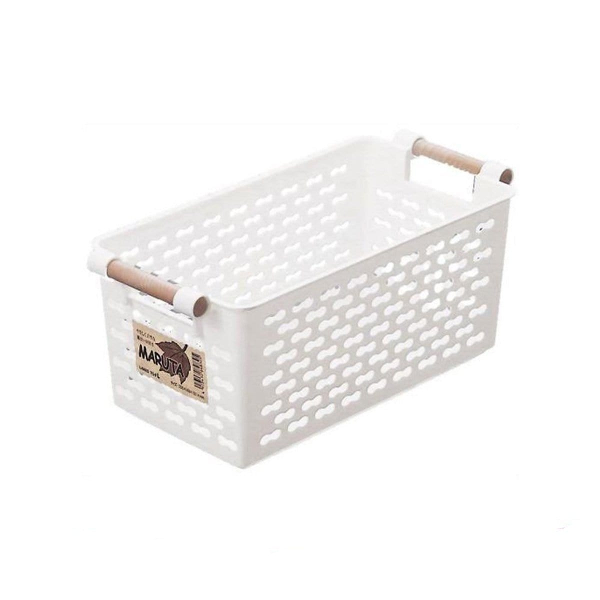 Japanese Large Plastic Storage Box Basket With Fancy Grip White