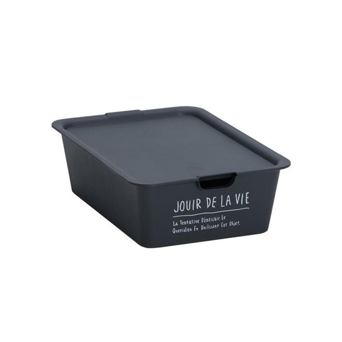 Japanese Large Size Plastic Storage Box with Lid Black