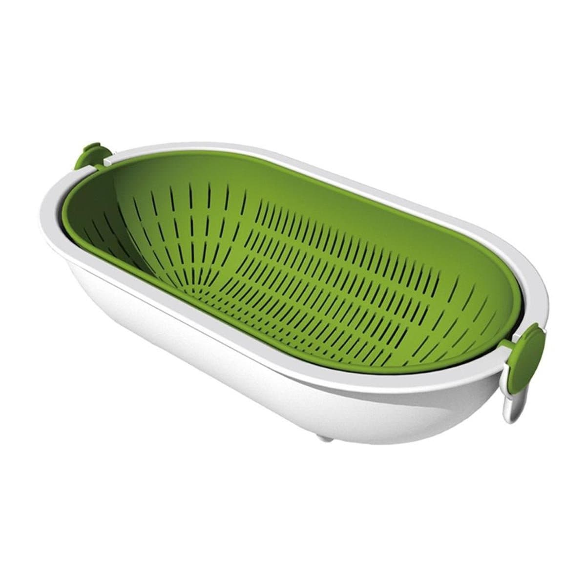 Japanese Plastic Basket Spin Wheel Colander Strainer Oval Green