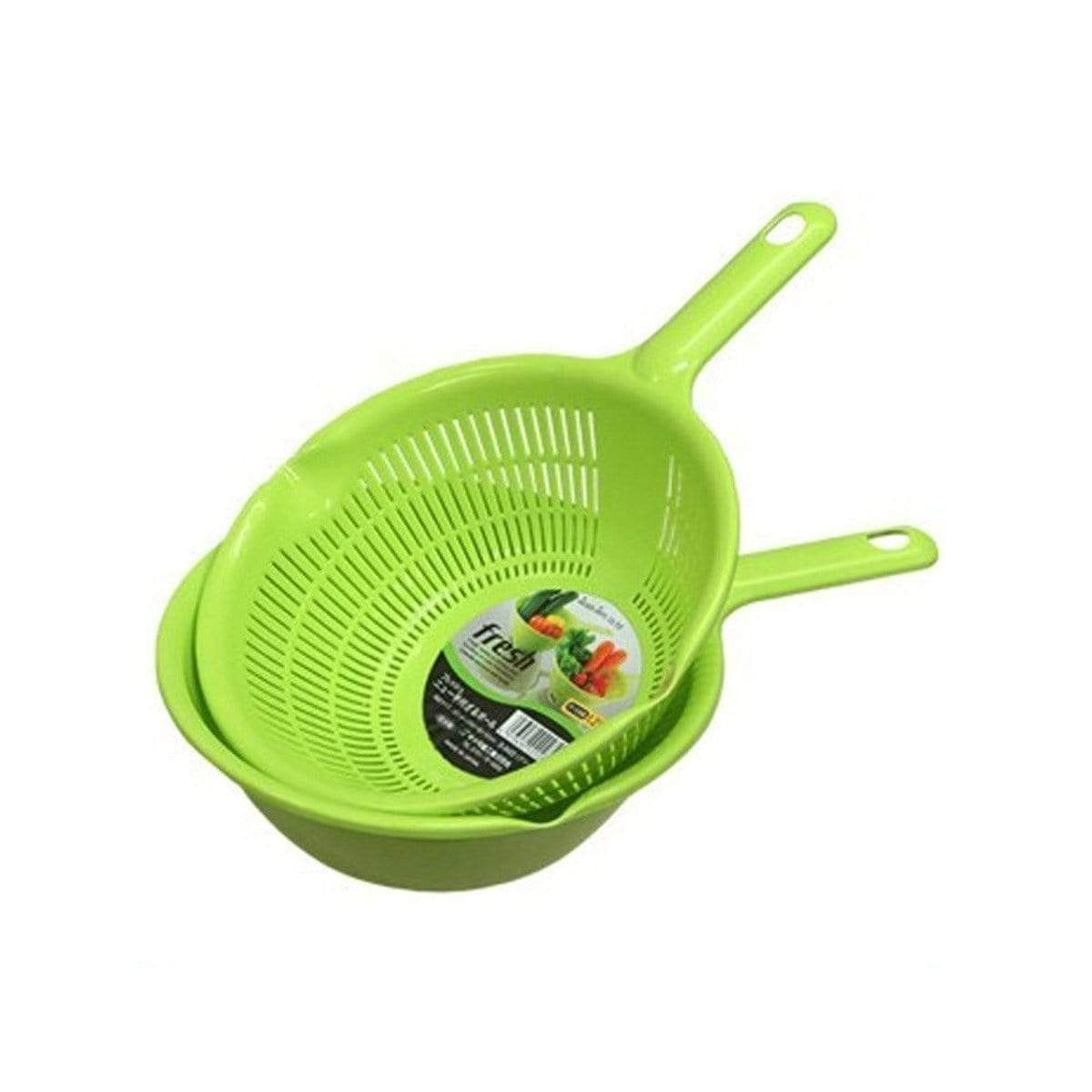 Japanese Plastic Colander Draining Washing Basket With Handle Green