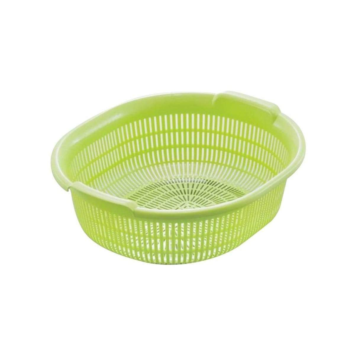 Japanese Plastic Colander Washing Draining Oval Basket Green
