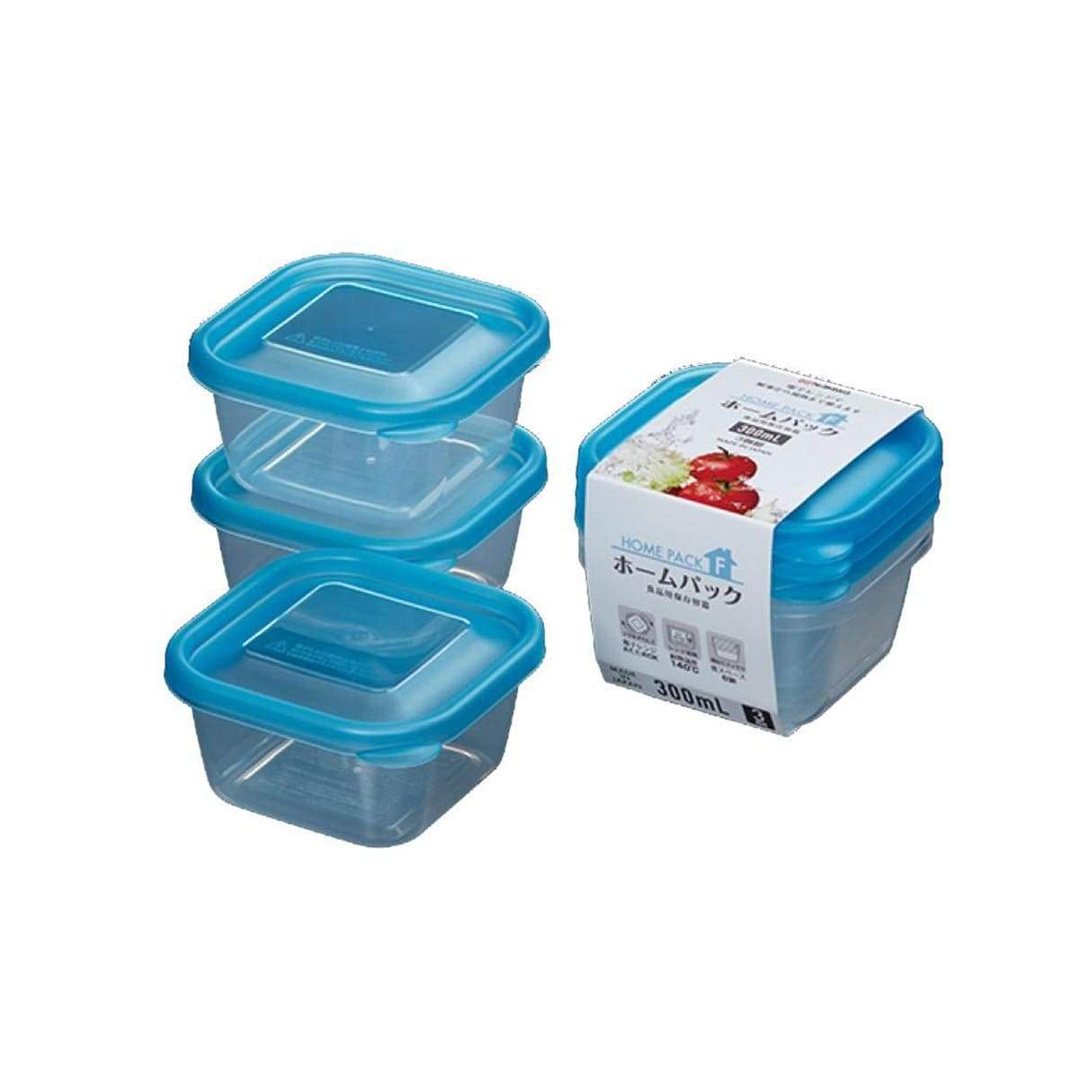 Japanese Plastic Food Storage Container Homepack F (300ml x 3p)