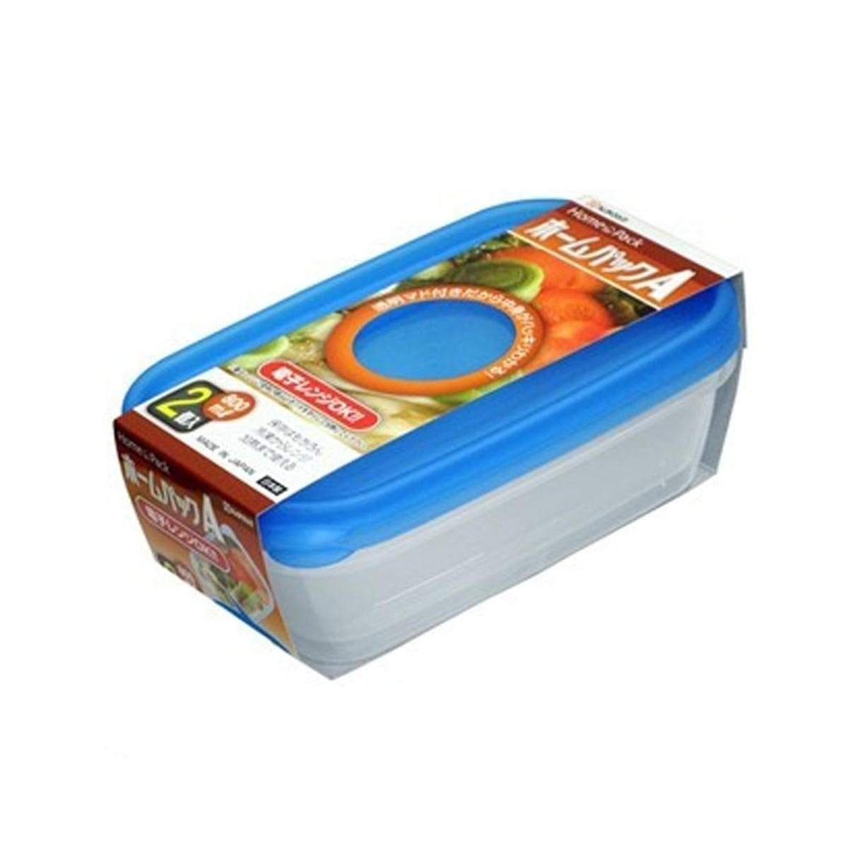 Japanese Plastic Home Pack Food Container Blue (800ml x 2p)