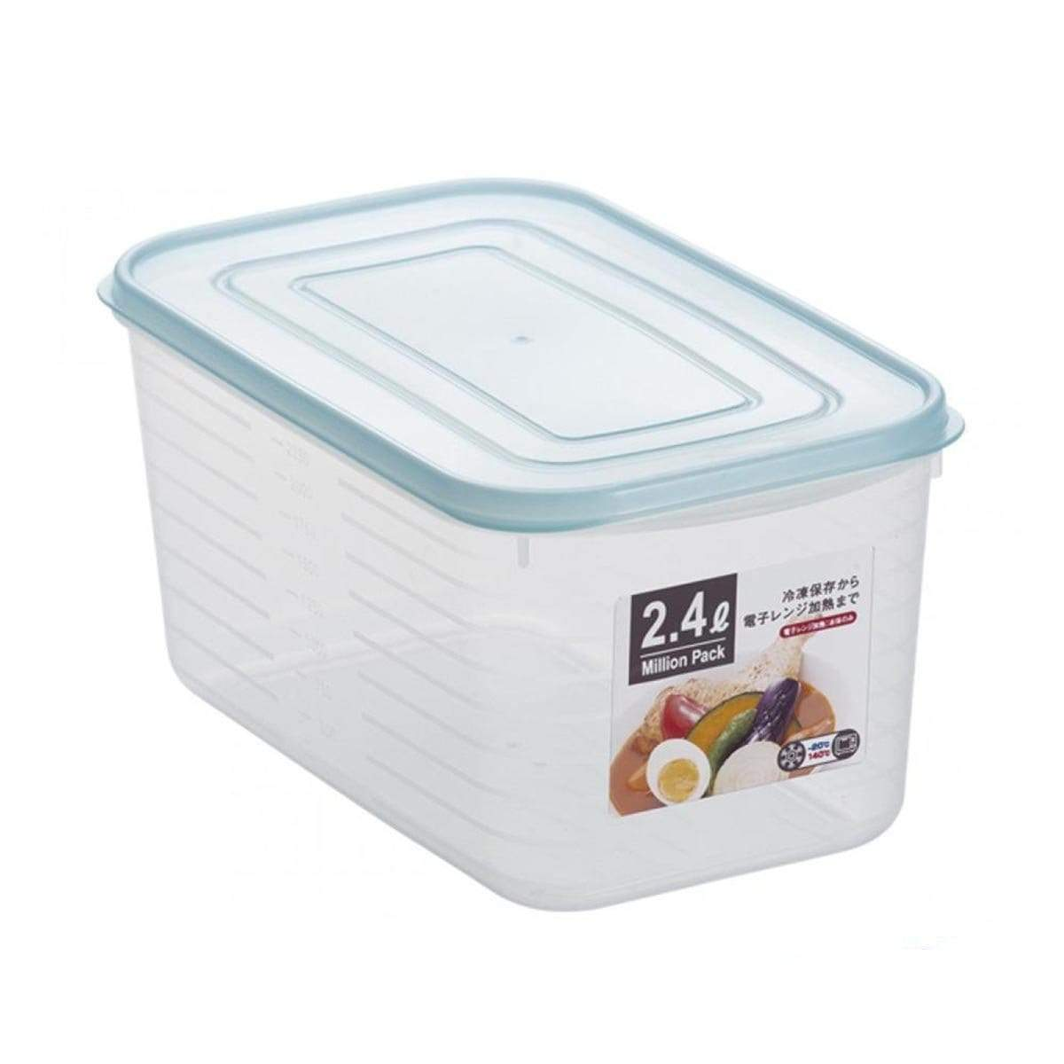 Japanese Plastic Large Square Food Pack Container Box 2400 Blue
