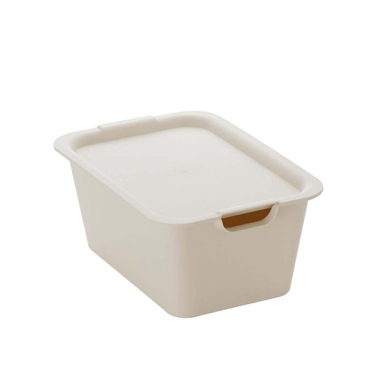 Japanese Plastic Medium Plain Box With Lid Storage Ivory