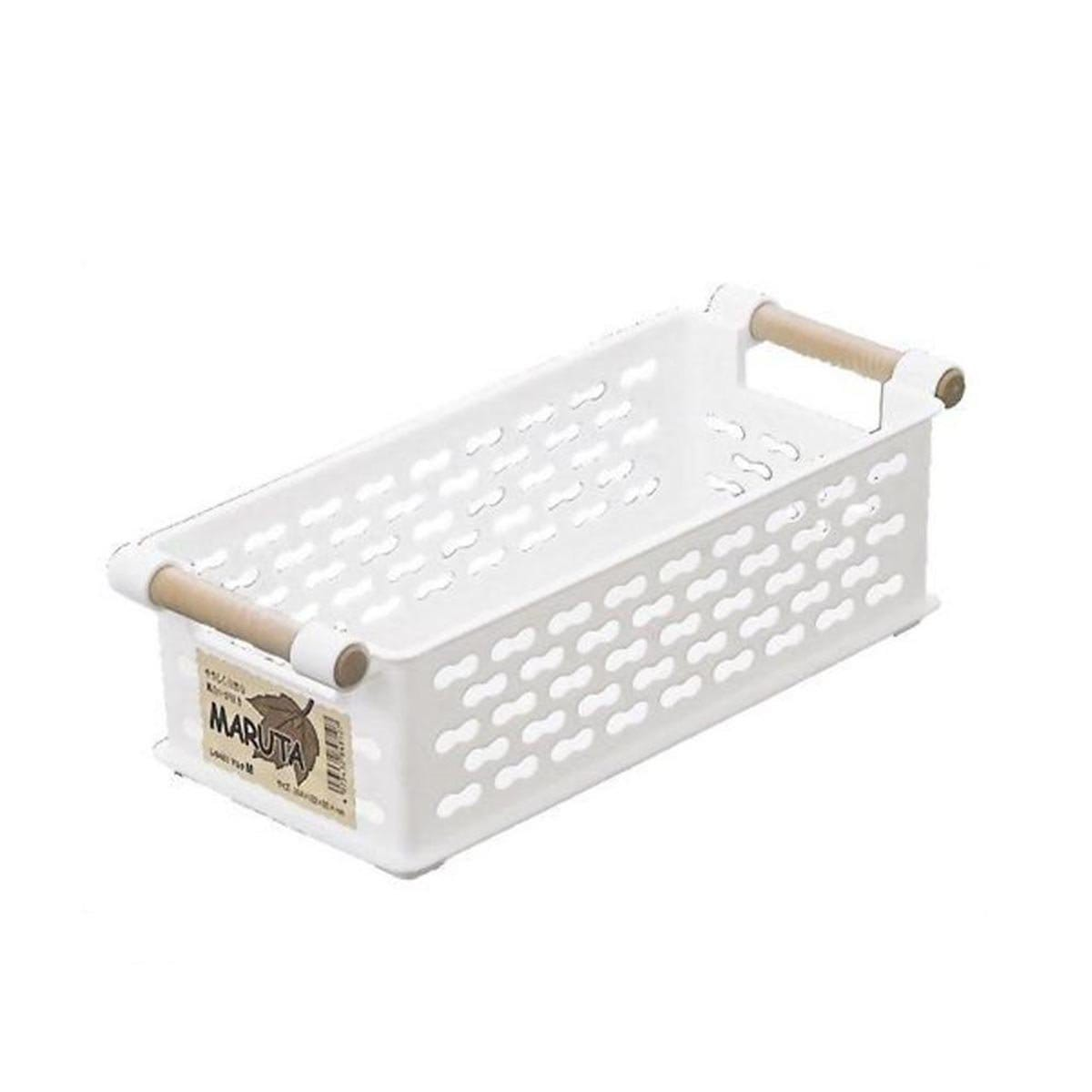 Japanese Plastic Medium Storage Basket With Wooden Fancy Grip Natural