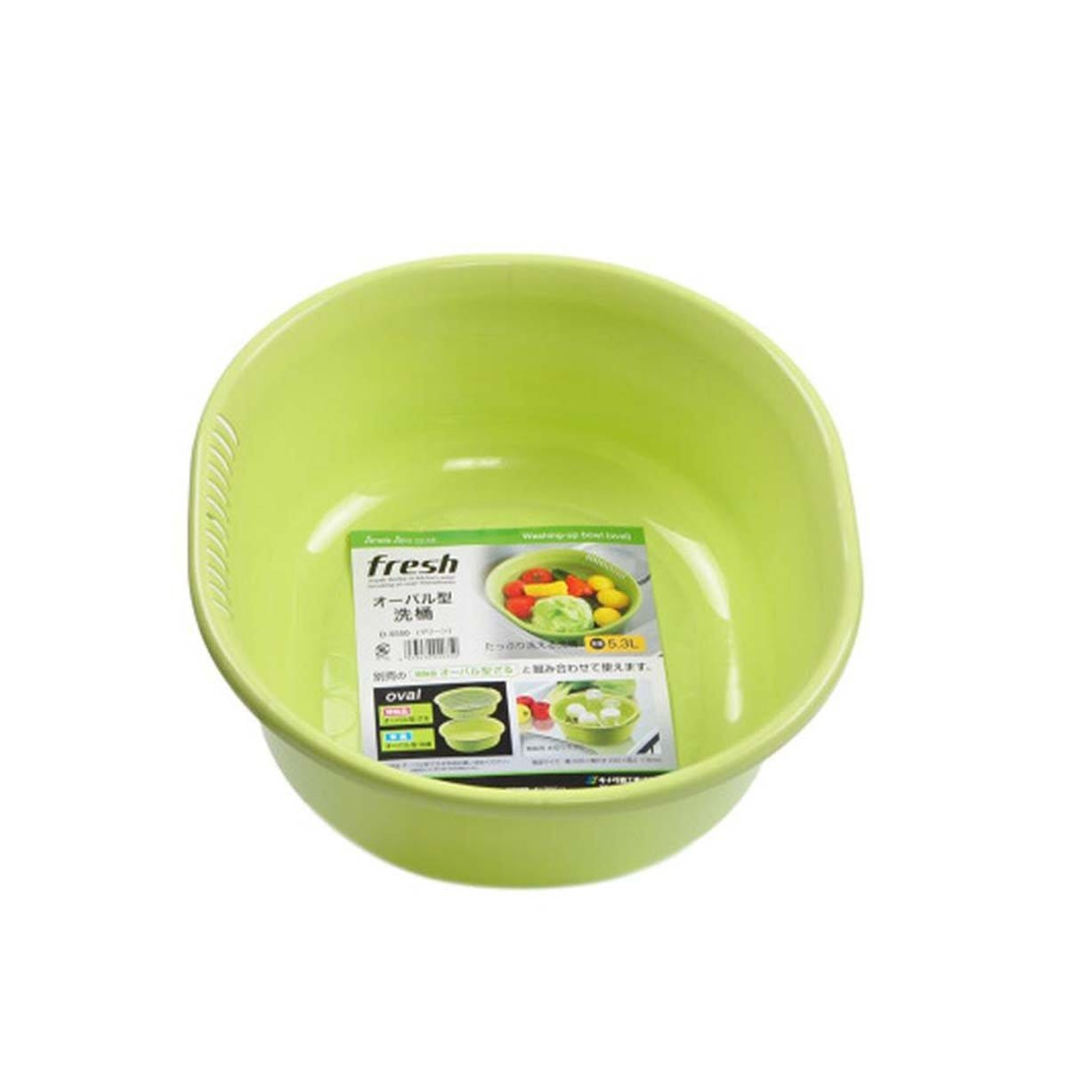 Japanese Plastic Oval Type Washing Bowl 5.3L Green