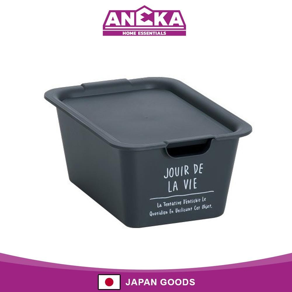Japanese Plastic Small Storage Box with Lid Black