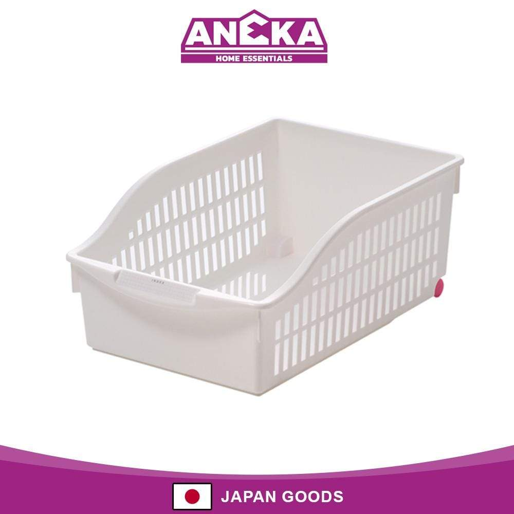 Japanese Plastic Wide Storage Basket With Roller