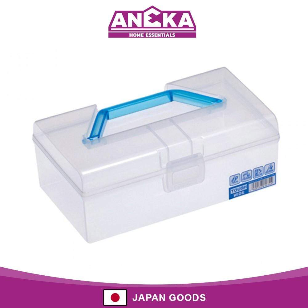 Japanese Wide Tough Utility Case Tool Box with Handle Blue