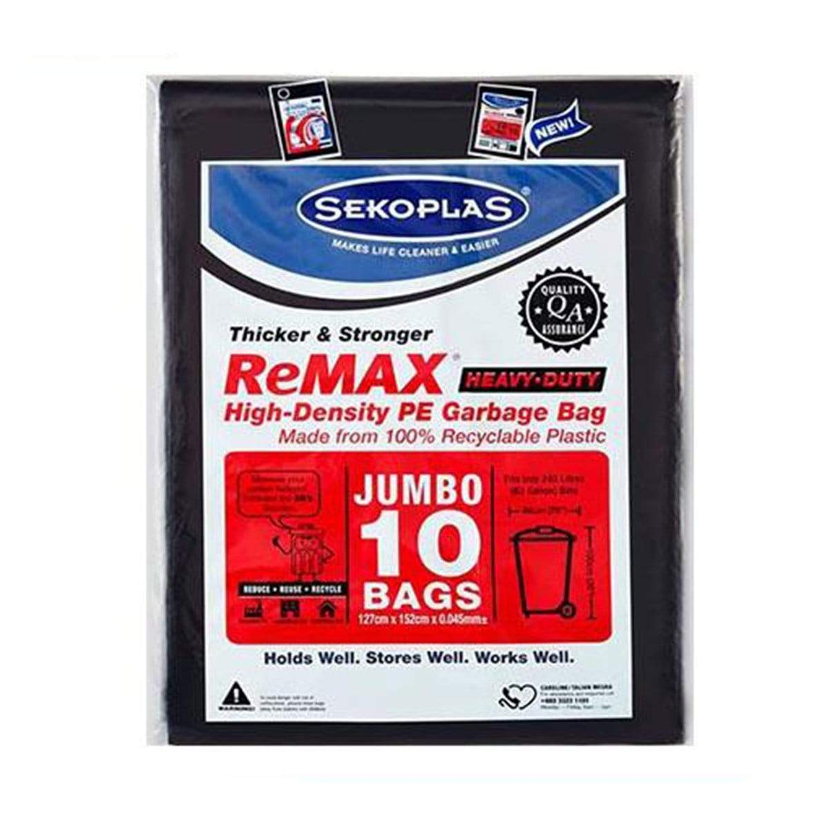 Remax Black Garbage Bag Jumbo 10pc