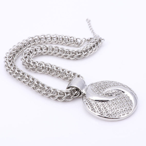 Silver Plated Crystal Necklace Jewellery Set