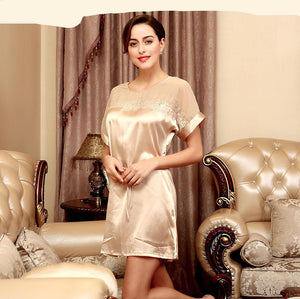 Victoria Silk Night Dress Lace One Size