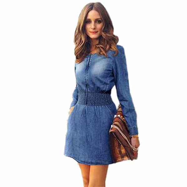 Long Sleeved Slim Casual Denim Jeans  Mini Dress