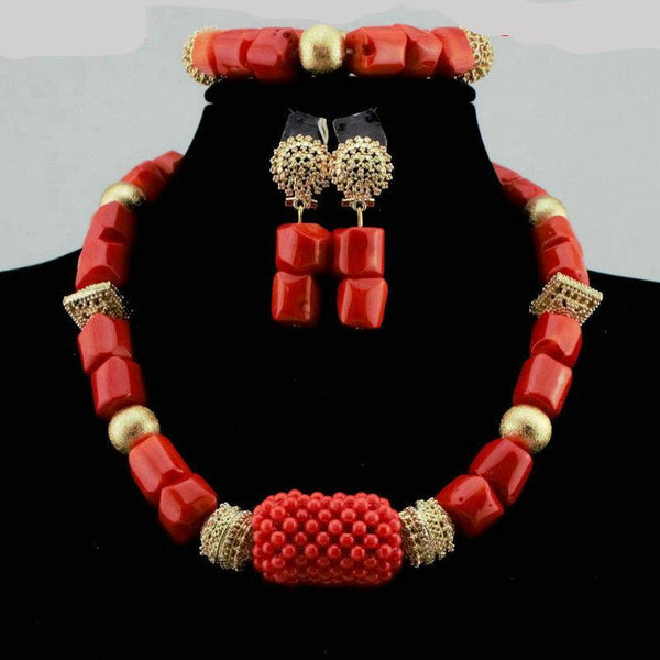 Coral Beads Necklace Jewellery Set