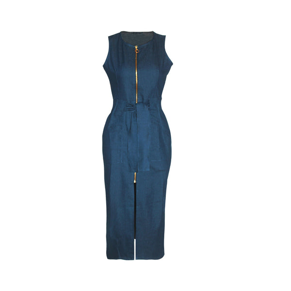 Bodycon Club Long Dress Zipper Pockets Denim Dress