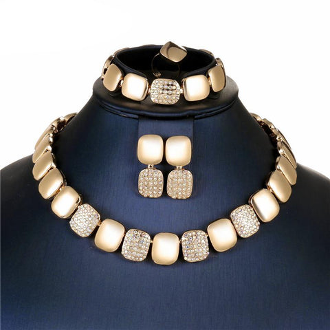 Gold Plated Vintage Fashion Necklace Set Jewellery