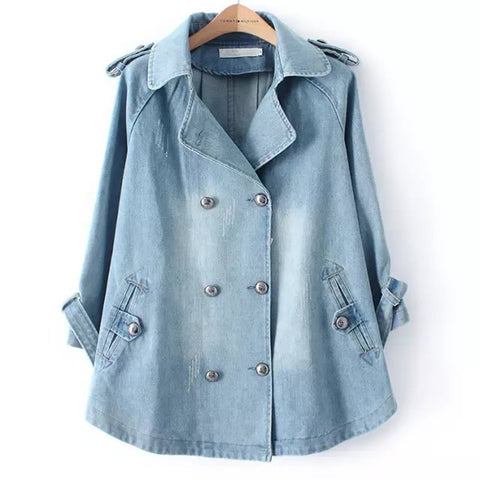 3/4 Sleeve Double Breasted  Jeans coat
