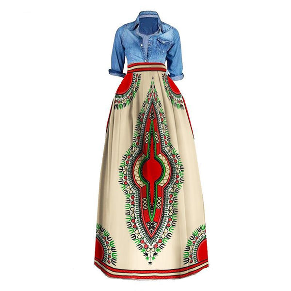 Plus Size Dashiki African  Casual Skirt