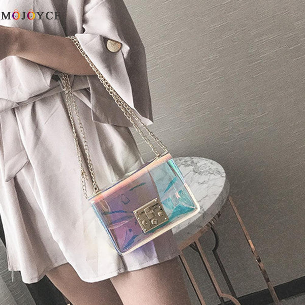 Laser Hologram Leather Messenger Bag