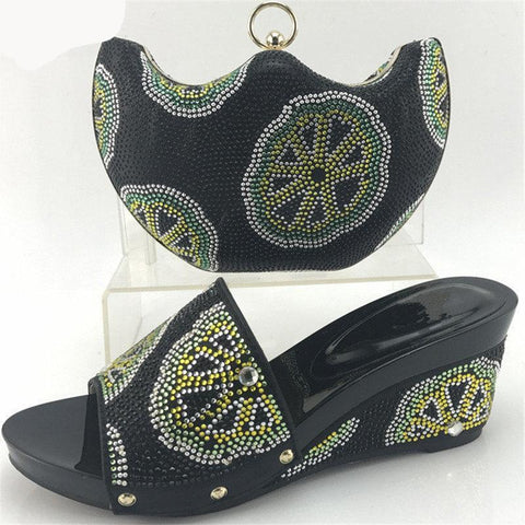 Decorated With Rhinestone  Middle Heels Shoes And Bag