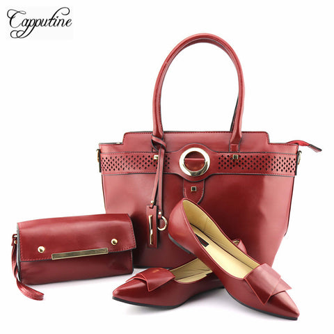 PU Leather  Low Heels Shoes and Handbag