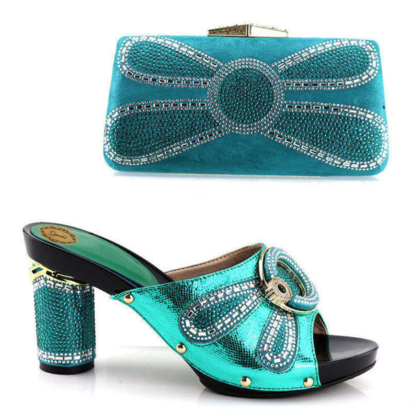 Rhinestone High Heels Ladies Shoes And Purse