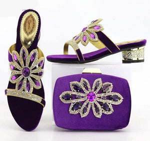 PU Leather  High Heels Shoes And Matching Bag