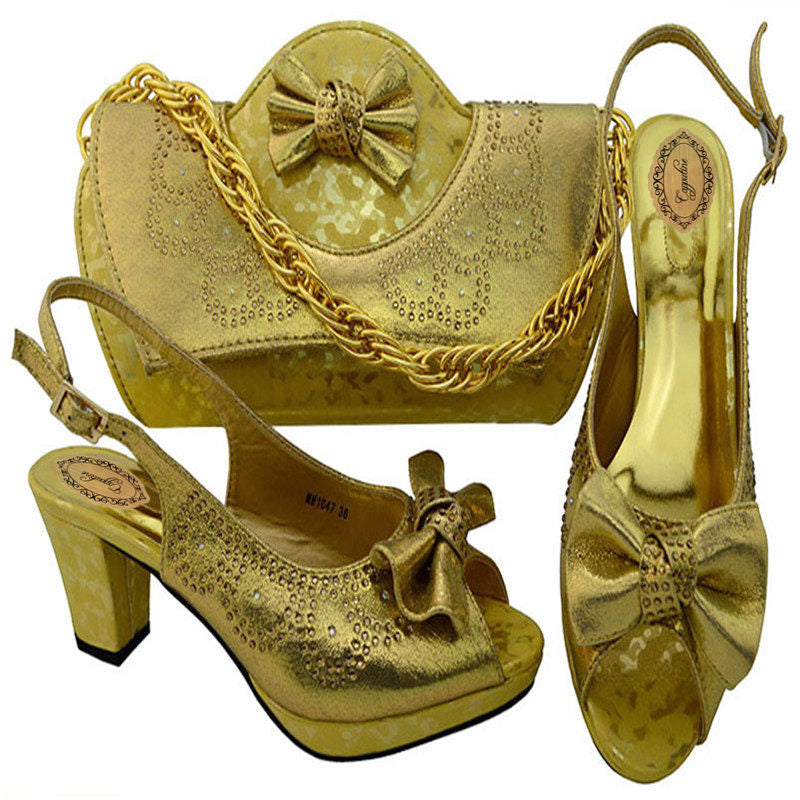 Rhinestone Shoes And Bag Set