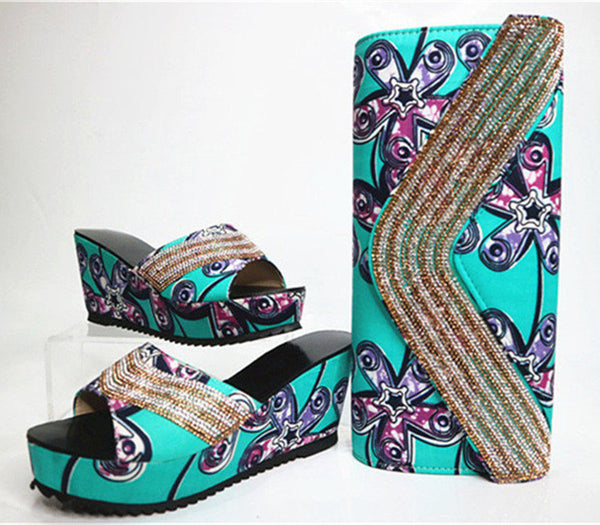 Wedges Heels Shoes And Purse Set