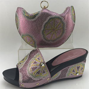 Middle Heels Shoes And Bag Set