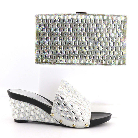 Silver Rhinestone Shoes With Matching Bag