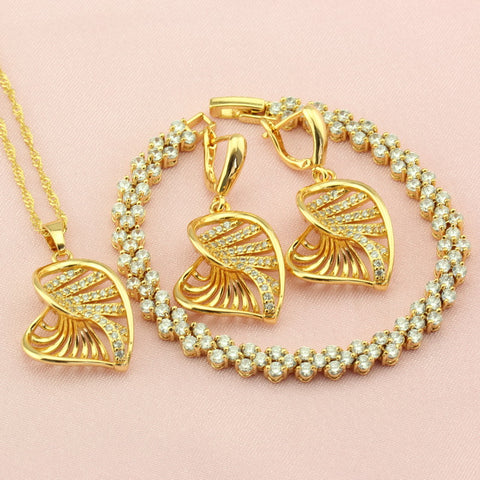 Classic Heart White Crystal Golden Jewellery Set