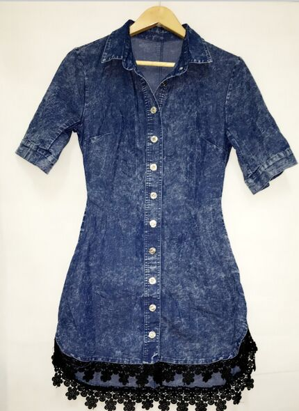 Street Style Lace Trim Button Down Half Sleeve Denim Shirt Dress