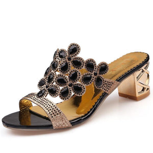 Size 36-41 Big Rhinestone Cut-outs High Heel Sandals