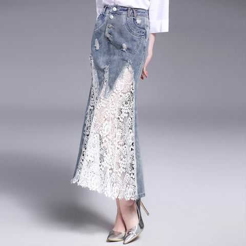 White Floral Lace and Denim Skirt Mermaid