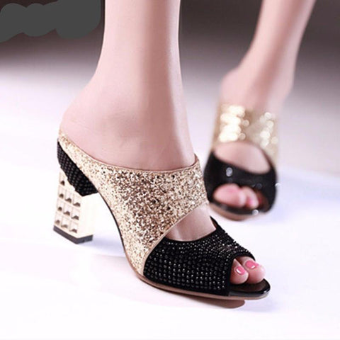 Wedges Peep Toe Square High heels Shoe