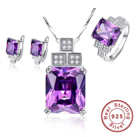 Amethyst Pendant Necklace with Stud Earring