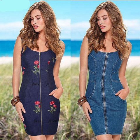Embroidered Sheath  Blue Jeans Dress