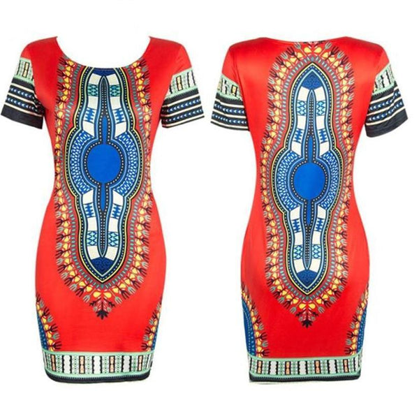 Dashiki Bodycon Short Sleeve Mini Dress