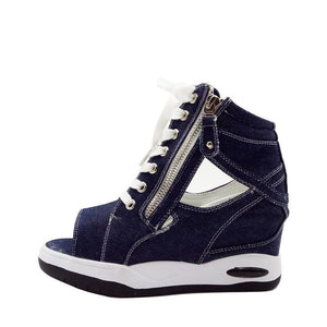 Canvas  Wedge Platform  Denim Thick Heel Pumps