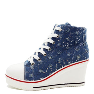 Sneakers High Heel Canvas Shoes Bling Wedges